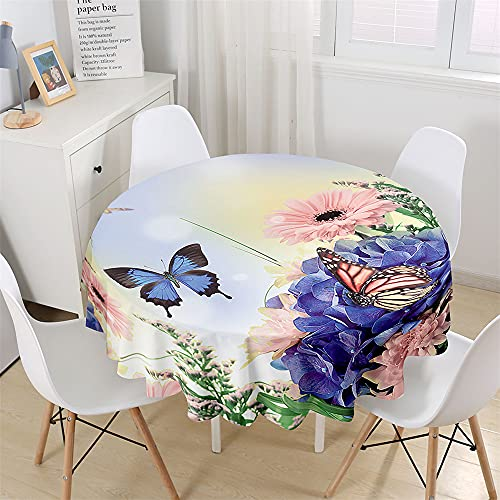 Chickwin Round Tablecloth with 3D Butterfly & Floral Printed, Waterproof Dust-Proof Polyester Outdoor Table Cloth Wipe Clean Table Cover Kitchen Garden Round Table Decor (Hydrangea,90cm)