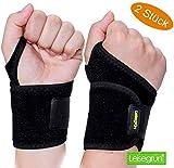 Handgelenkbandage by Leisegrün® Fitness [2 Stück] – Handgelenkschoner stützen beim Sport wie Crossfit, Kraftsport Training - Handgelenkbandagen geeignet für Damen und Herren