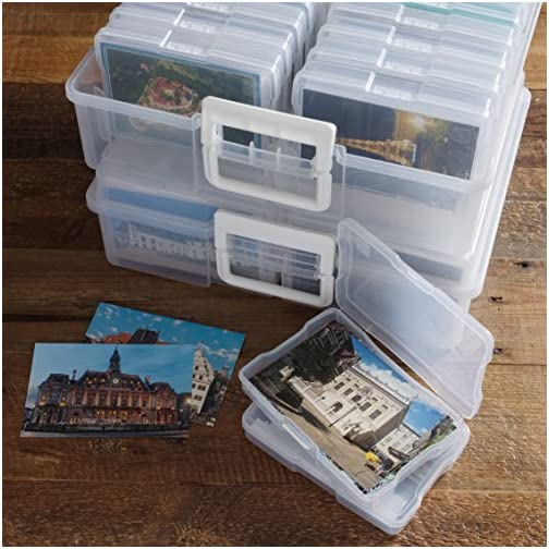 """IRIS USA KP-XLPHO 4"""" x 6"""" Photo and Embellishment Craft Keeper, Extra Large, Clear, 2 Count & USA Portable Project Case, 6 Pack, Clear 