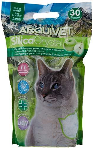 Arquivet Arena gato Silica Crystal - Aroma manzana - Capacidad: 3,8 L - Lecho higiénico para gatos, felinos aromatizado - Capacidad absorbente - Ayuda a eliminar olores y bacterias