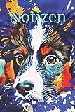 Notizen: Notizbuch Australian Shepherd Mini Aussie Black tri Hund Agility Hundeschule Hundetraining bunt Kunst Hundefreund Obidience Haustier - Claudia Burlager