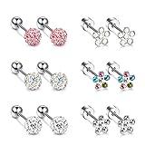 FIBO STEEL 6Pairs Stainless Steel Stud Earring for Women Girls Flower Shape Cute CZ Stud Earring Screw Backs Tragus Cartilage Piercing Safety Jewelry