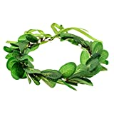June Bloomy Greenery Leaf Crown Rustic Wedding Headpiece Bridal Headband Photo Prop (A-Green)