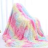 Manta, El único Diseño de Color Arcoíris en el Mercado Esponjosa Manta para Sofás en 2020, 160 x 200cm Manta para Cama de Microfibra de Piel Artificial Suave y Cálida, Adecuada para Sofá o Cama