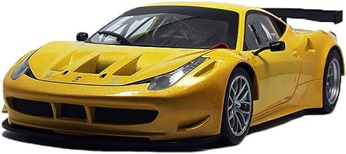 GAOQUN-TOY Modèle de Voiture 1 18 Ferrari 458 GT2 Alliage Voiture de Sport Modèle de Voiture Décoration Collection Cadeau (Couleur   jaune, Taille   27  11  7cm)