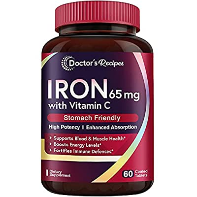 Doctor's Recipes Iron 65 mg Carbonyl Iron with Vitamin C, Maximized Absorption Easy on The Stomach, Red Cells Formation, Blood, Heart, Brain, Muscle & Immunity Health, Vegan Non-GMO 60 Tablets