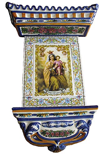 Rustiluz Azulejo de la Virgen del Carmen de cerámica con Cenefa y tejadillo Mediano.