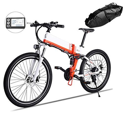 LiRongPing Folding Electric Mountain Bike with 36V 10Ah Lithium Battery,26 Inch Tire EBike, 25KM/h Speed,350W Powerful Motor Beach Bike (Size : B)