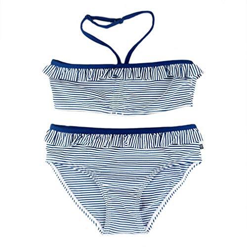 Changhants 8-16 Y Mädchen Bikini Set Kinder Zweiteilige Bademode Mädchen 2-teiliger Badeanzug Kind Sommer Badeanzug Weiß und Dunkelblau Streifen Tankini Kinder Strandkleidung