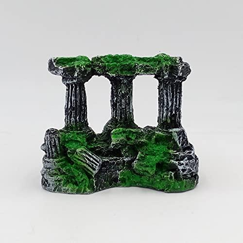 QWEP 1 unids Acuario Peces Tanque Cuadrado Roma pilares de Piedra Resina Manual de Piedra decoración Retro paisajismo para Acuario Peces Tanque (Color, Size : One Size)