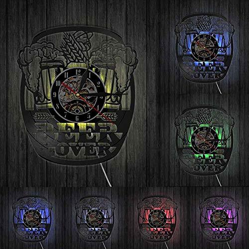Reloj de pared de vinilo Taza Espuma Beer Man Cave Pub Bar Decoración de la pared Reloj Cheers Alcohol Vinyl Record Reloj de pared Cervecería Amante de la cerveza Bebedores de vino Regalo-12 pulgadas