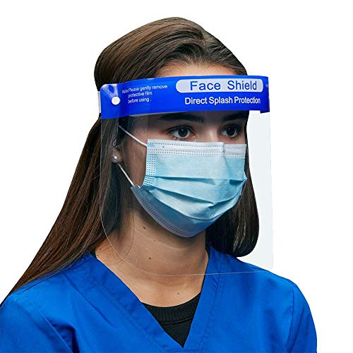 100 Pack of Protective Face Shields by ICU Health - Safety Protection for Face and Eyes; Comfortable and Adjustable for Men, Women, Children