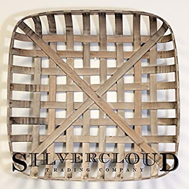 Silvercloud Trading Co. Tobacco Basket, Farmhouse Decor, Large 25  Square