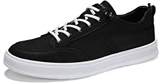 ZhaoXin Chen Fashion Sneakers for Men Casual Skater Sports Shoes Lace Up Low Top Perforated Microfiber Leather Round Toe Wear Resistant (Color : Black, Size : 7 UK)