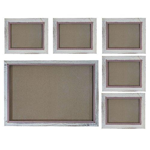 Mendler Bilderrahmen Set, Fotorahmen Holzrahmen Wandrahmen, 5X 19x24cm 1x 36x51cm Shabby Landhaus ~ weiß