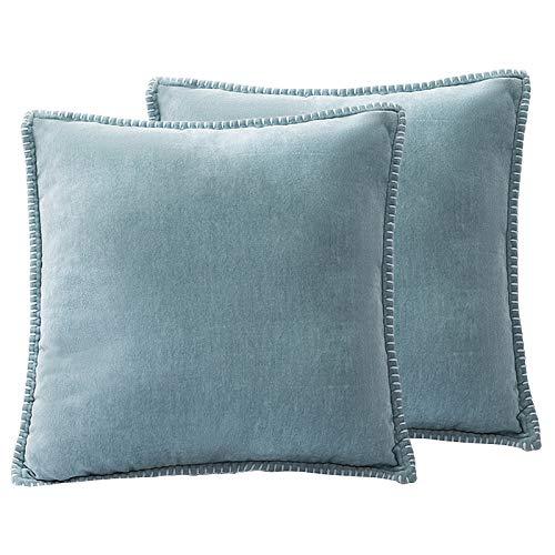 Ewolee Fundas de cojín, 2 fundas de almohada de chenilla, suaves, cómodas, cuadradas, fundas de almohada decorativas para sofá, silla, coche, sala de estar, 45,7 x 45,7 cm (azul)