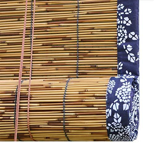 SunLin Verkohlung Schilf Rollo Vorhang, Atmungsaktiv Raffrollo Rollo Bambus, Dekorative Reed Vorhänge, Blackout Retro Stroh Vorhang, Mit Lifter, Anpassbar(60x120cm/24x47in)