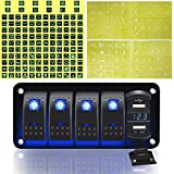 FABOOD F 4 Gang Aluminum Rocker Switch Panel - 5 Pin ON Off Toggle Switch with Blue LED Backlit, Wiring Harness Pre-Wired Easy Installation 12V 24V for Boat Car Marine ATV UTV