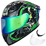 ILM Motorcycle Helmet Full Face with Pinlock Compatible Clear&Tinted Visors and Fins Street Bike Motocross Casco DOT(Legend Green, Large)