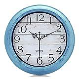 Lafocuse Relojes de Pared Shabby Chic Azul Celeste Grano de Madera Reloj de Cuarzo Rustico Silencioso para Cocina Salon Dormitorio Infantil 30cm
