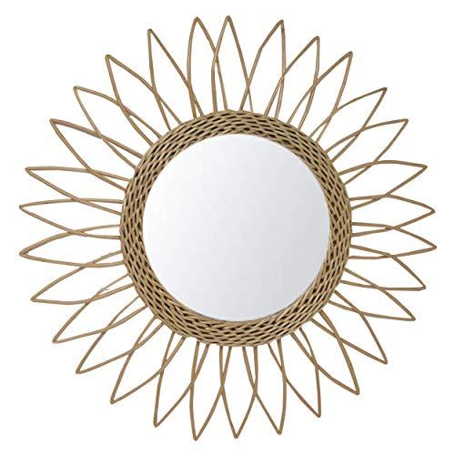Hogar y Mas Espejo Pared Circular de Ratán Natural, Espejos Decorativos Originales. Decoración Dormitorio/Baño ø51,5 cm