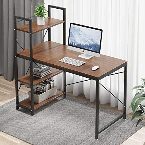 Tower Computer Desk with 4 Tire Shelves - 47.6 inch Writing Study Table with Bookshelves Study Desk Modern Steel Frame Compact Wood Desk Home Office Workstation