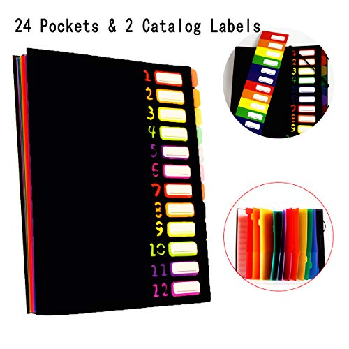24 Pockets Expanding File Folders with 2 Catalog Labels, APUWiiO 12 Pages File Organizer/Accordion Folders A4 Letter Size Hold 120 Sheets/Rainbow Document File Folders, Designed for School Office Home