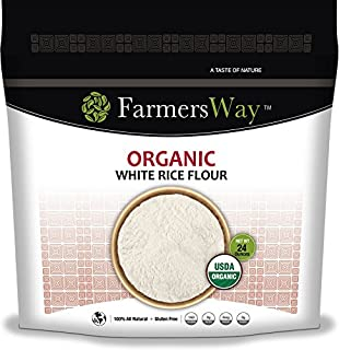 Farmers Way Organic White Rice Flour, is an organic and gluten free white rice flour that is high in protein and fiber, 24 ounce bag