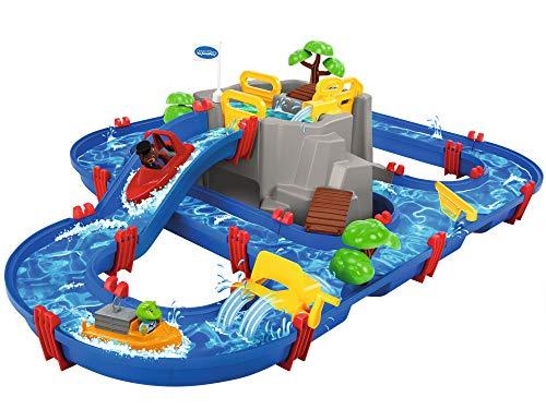 AquaPlay - Wasserbahn Set Bergsee - 42-teiliges Spieleset mit Bergsee, Wasserfall und geheimer Höhle, Wasserspielspaß inkl. 3 Tierfiguren und 2 Booten, für Kinder ab 3 Jahren