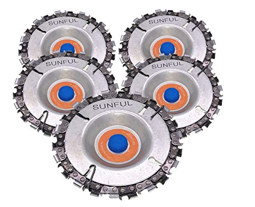 5pcs Wood Carving Disc,4 Inch Grinder Chain Disc for 100/115 Angle Grinder,22 Teeth, 5/8' Arbor (4 in)
