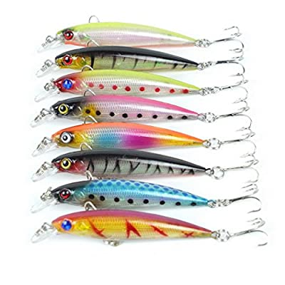 Aorace 8 pcs/Lot Fishing Lures Saltwater Squid Laser 3D Minnow Fishing Lures Deep Lure for Bluegill Salt Swimbait Wobbler 8.5cm 7.2G by Aorace