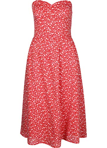 Tommy Jeans Damen Tjw Bandeau Dress Kleid, Rot (Floral Print/Deep Crimson 0k3), 34 (Herstellergröße: Small)