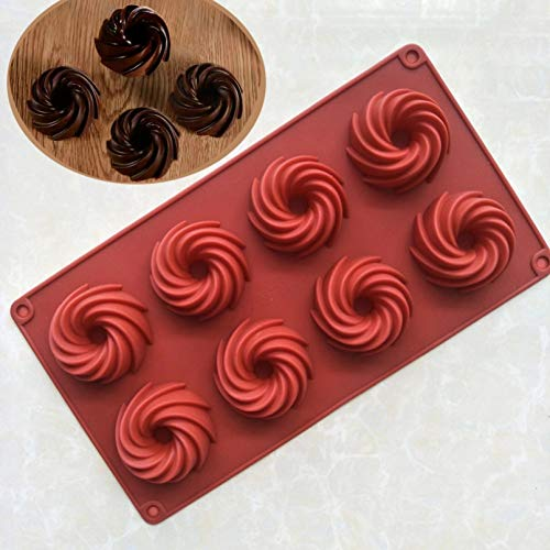 SHUHUI 8 Cavités Mini Forme en Spirale De Qualité Alimentaire Silicone Moule À Gâteau Moule 3D Cannelé Moule À Gâteau Forme Pain Boulangerie Outils De Cuisson Ustensiles De Cuisson