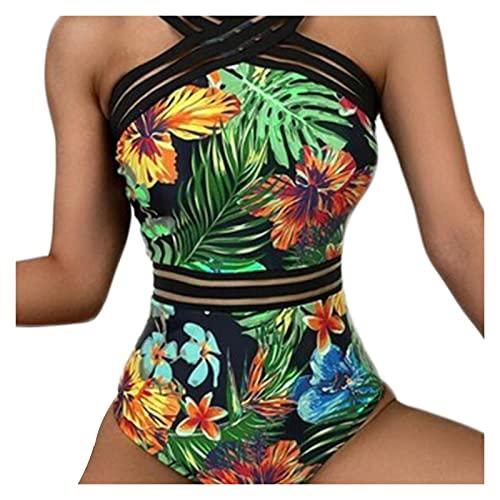 YUANYUAN520 Impresión De Hojas Una Pieza Rayas Halter Traje De Baño para Mujer Sexy Flower Swimsuit Sin Mangas Alta Cintura Swimwear Traje con Cuello En V (Color : Green, Size : M.)