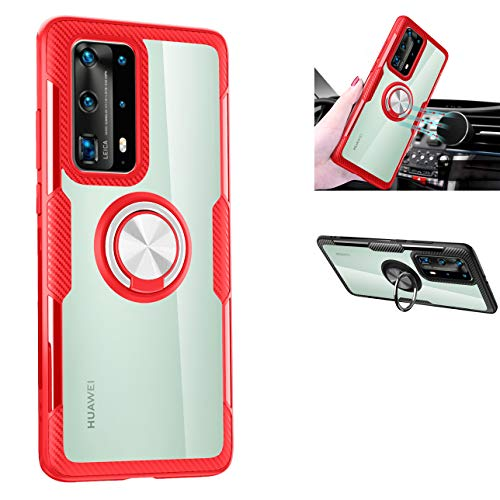 Huawei P40 Pro Case,360° Rotating Ring Kickstand Protective Case,TPU PC Shock Absorption Double Protection Cover Compatible with[Magnetic Car Mount] for Huawei P40 Pro Case (Red/Silver)