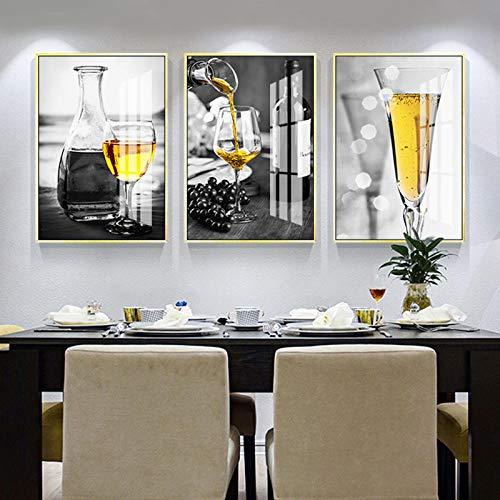 YDHP Cartel nórdico en Blanco y Negro Copa de Vino Pared Arte impresión Lienzo Pintura Licor Pared Cuadros para Sala de Estar moderna-50x70cmx3 Piezas sin Marco