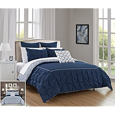 Chic Home 10 Piece Assent Ruffled pinch pleat border with piping detail, REVERSIBLE contemporary printed pattern Queen Bed In a Bag Comforter Set Navy