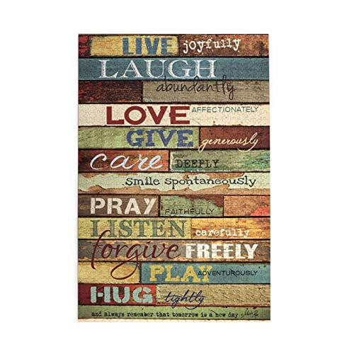 """Tidyki Jigsaw Puzzles 500 Piece Quotes Live Laugh Love Rustic Wood Jigsaw Puzzle for Adult 15"""" x 20"""" Entertainment Wooden Puzzles Toys Stress Relief Game"""