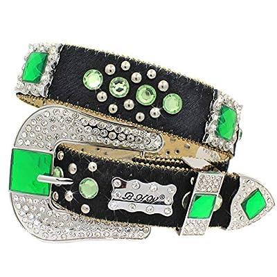 150 High End Womens Cowgirl Western Belts Cowgirl Bling Belts Rodeo Belts Plus Size Western Belts For Cowgirls (BLACK-GREEN, XL)