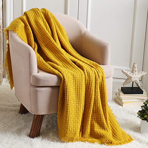 CREVENT Soft Lightweight Boho Crochet Decorative Spring Throw Blanket for Couch Sofa Chair Bed Home Decoration (127cmX152cm Mustard / Yellow)