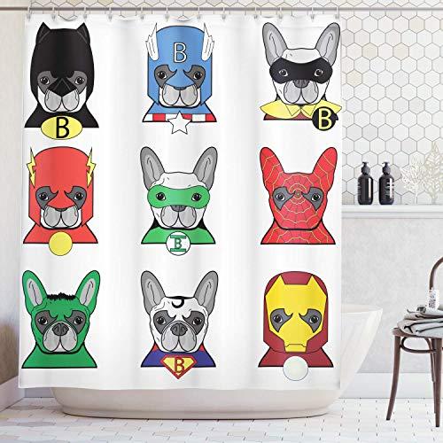 /N Cortina de Ducha de superhroe, Bulldog Superhroes Divertidos Cachorros de Dibujos Animados disfrazados Disfraz de Perros con Estampado de mscaras, de decoracin de bao de Tela de Tela con