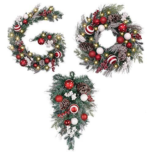 Valery Madelyn Traditional Red White Christmas Wreath, Christmas Garland and Christmas Teardrop Swag Bundle