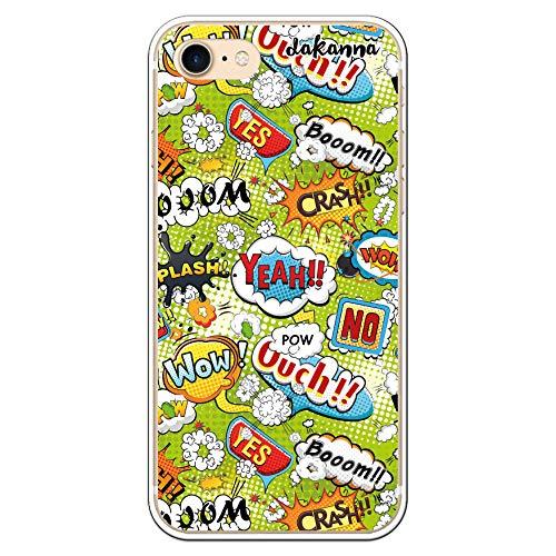 dakanna Funda Compatible con [iPhone 7 - iPhone 8] de Silicona Flexible, Dibujo Diseño [Frases Comic Style Wow], Color [Borde Transparente] Carcasa Case Cover de Gel TPU para Smartphone