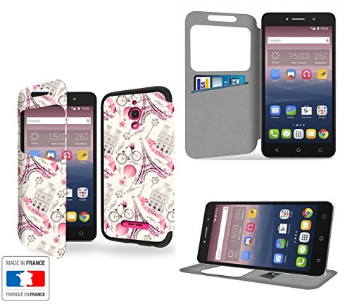 Paris Ville Romantique Collection Pattern Portafoglio PU Pelle Custodia Protettiva Case Cover per Alcatel Pixi 4 6' 4G con Ventana de visibilidad - Casae Industry