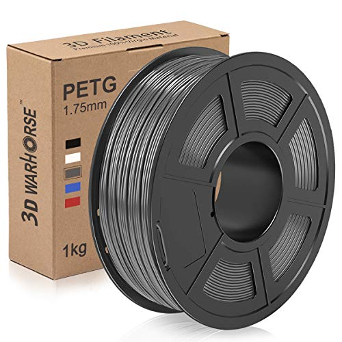 PETG Filament, 3D Warhorse 1.75mm 3D Printer Filament, PETG 3D Printing 1KG Spool, Dimensional Accuracy +/- 0.02mm, Grey