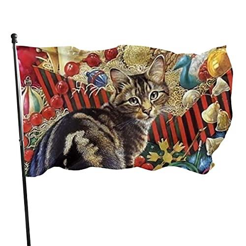 Banderas para jardín Navidad gato campana regalo dibujos animados lindo Bandera Grande de balcón para Exterior Reforzada y con 2 Ojales metálicos 90x150cm