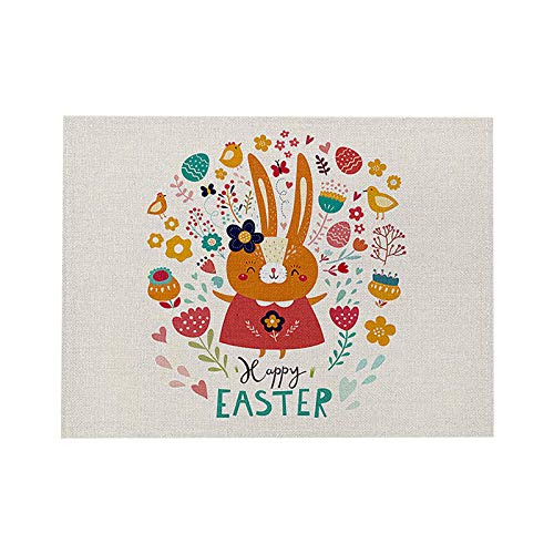 Place Mats Cute Bunny Design, Dining Table Mats PVC Woven Non Slip Washable Folding, Placemats for Restaurant, Coffee, Wedding, Kitchen, Outdoor Easter eggs
