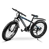 Tazzaka Mountainbike 26 Zoll Fahrrad Fatbike Shimano-21-Gang 4.0 fette Reifen mit MTB Gabelfederung Scheibenbremsen Karbonstahl-Rahmen Trekkingrad Blau (Blau)