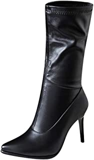 Funnygals - Womens Stretch 9.5cm High Stiletto Heel Ladies Pointed Toe High Boots Mid Calf Boots Shoes Size 5-11 US