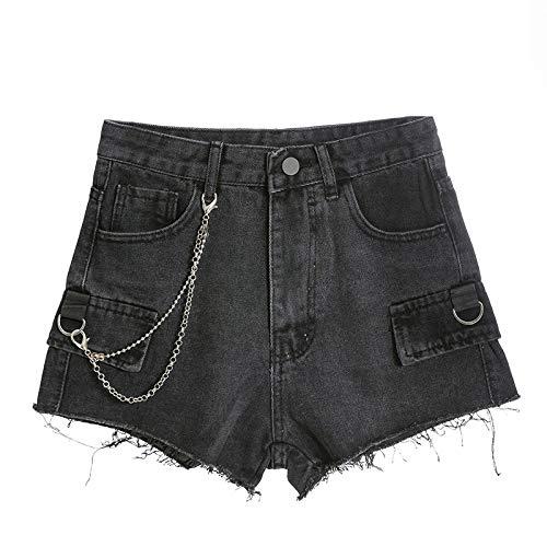 NOBRAND Nuevos Bolsillos Falsos Lavados de Cintura Alta para Adelgazar Pantalones de Mezclilla con Cadena de Borde Crudo Mujeres
